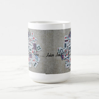 here joker- beige mah jongg mug- ribbon tiles coffee mug