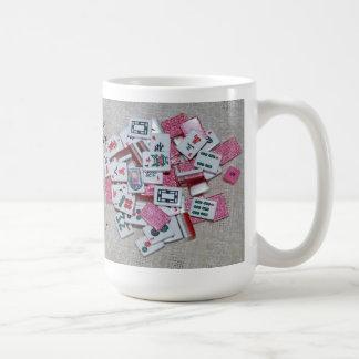 Here...Joker, Joker!!Pink glitter tiles on beige Basic White Mug