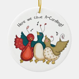Here We Come A-Caroling Christmas Birds Round Ceramic Decoration