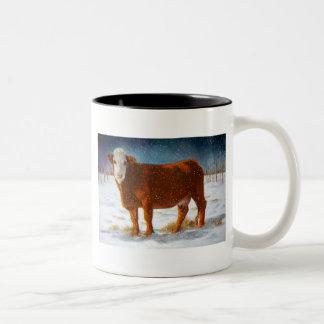 HEREFORD BEEF COW: PASTEL ART Two-Tone COFFEE MUG