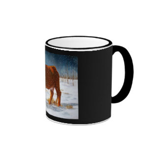 HEREFORD BEEF COW: PASTEL PAINTING: SNOW COFFEE MUGS