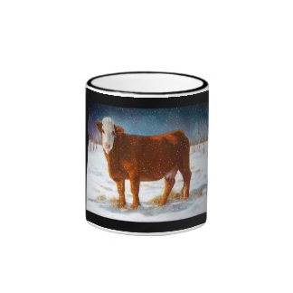 HEREFORD BEEF COW: PASTEL PAINTING: SNOW RINGER MUG
