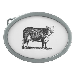 Hereford Cow Oval Belt Buckle