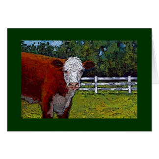 Hereford Cow in Pasture: Illustration: Farm Animal Card