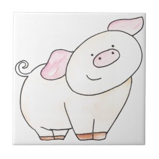 Here's looking at you Pig cutout by Serena Bowman Small Square Tile