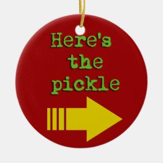 Here's the pickle ceramic ornament