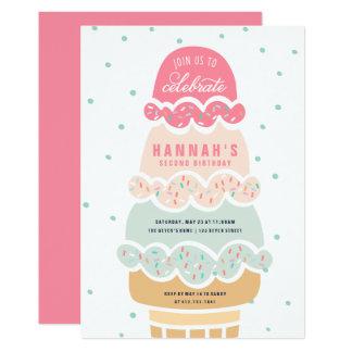 Here's the Scoop Pink Ice Cream  Birthday Invite