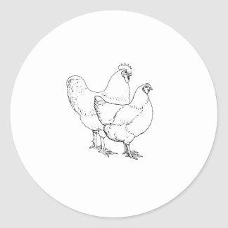 Heritage Breed Chickens - Rooster and Hen Classic Round Sticker