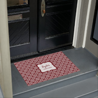 Heritage Red Damask stylish personalised Doormat