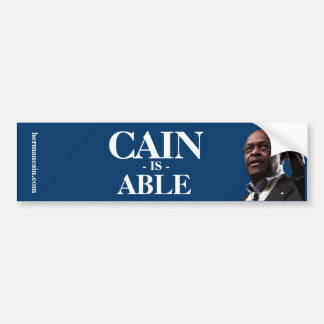 Herman Cain: Cain Is Able - Blue Background Bumper Sticker