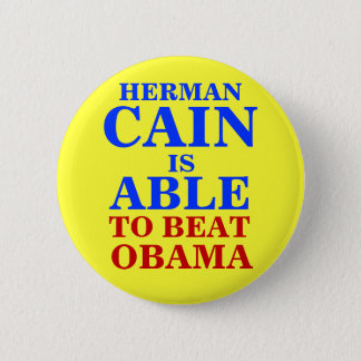 herman cain is able 2012 6 cm round badge