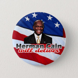 Herman Cain Will Deliver, Right-Wing Pizza Parody 6 Cm Round Badge