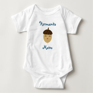 Hermanito/Little Brother Baby Bodysuit with Acorn