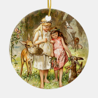 Hermann Vogel - Snow White and Rose Red Ceramic Ornament
