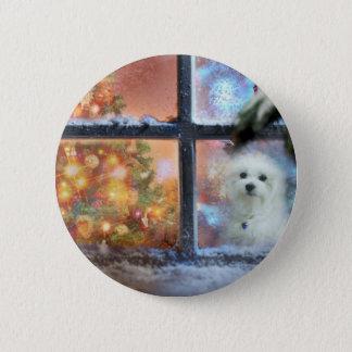 Hermes the Maltese 6 Cm Round Badge