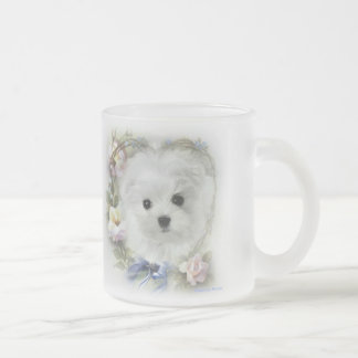 Hermes the Maltese Frosted Glass Coffee Mug