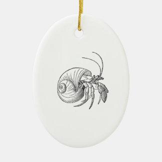 Hermit Crab Illustration (line art) Ceramic Ornament