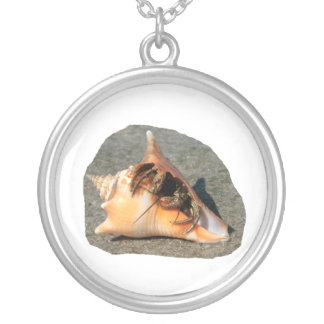 Hermit Crab on Sand Coming out of shell Silver Plated Necklace