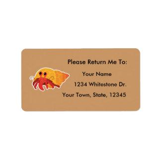 Hermit Crab Reading Bookplates Sticker Gift Address Label