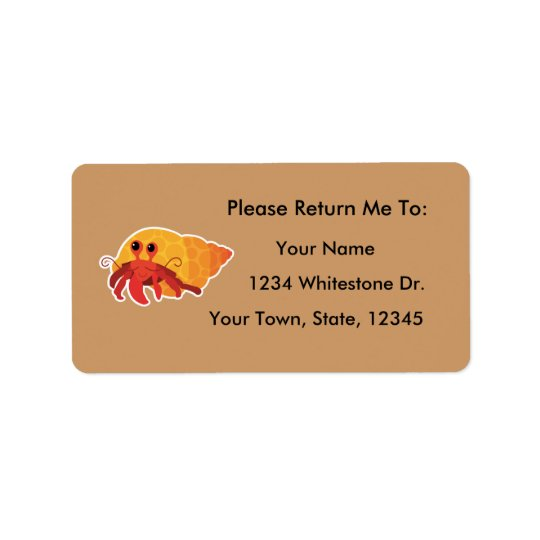 Hermit Crab Reading Bookplates Sticker Gift Address Label