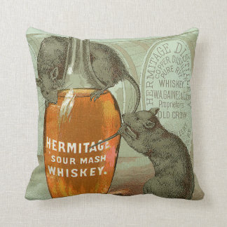 Hermitage Sour Mash Whiskey ad with two rats Cushion