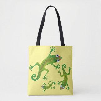 Hermoso lagarto verde, lizard tote bag