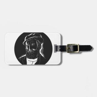 Hernan Cortes Conquistador Woodcut Luggage Tag