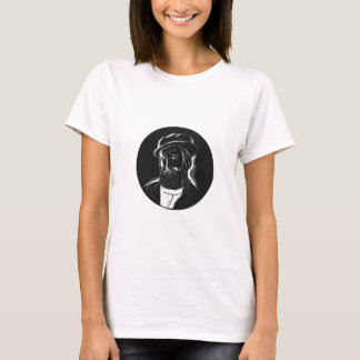 Hernan Cortes Conquistador Woodcut T-Shirt