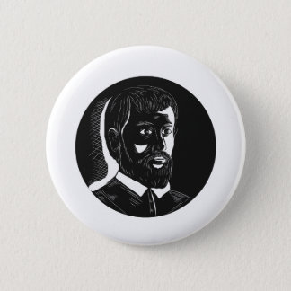 Hernando de Soto Explorer Circle Woodcut 6 Cm Round Badge
