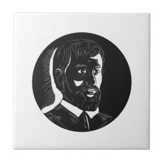 Hernando de Soto Explorer Circle Woodcut Ceramic Tile