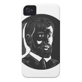 Hernando de Soto Explorer Circle Woodcut iPhone 4 Cover