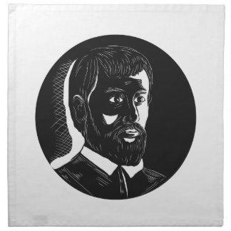 Hernando de Soto Explorer Circle Woodcut Napkin