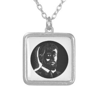 Hernando de Soto Explorer Circle Woodcut Silver Plated Necklace