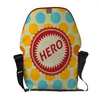 HERO Label on Polka Dot Pattern Messenger Bag