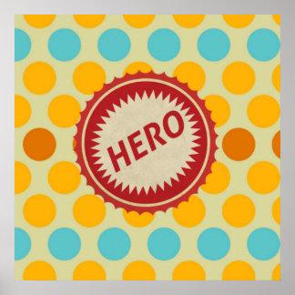 HERO Label on Polka Dot Pattern Print