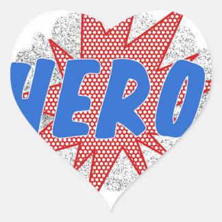 Hero star design heart sticker