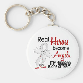 Heroes Become Angels Husband Lung Cancer Key Ring
