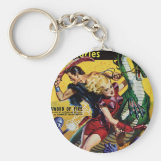 Heroic Blonde Rides a Dinosaur Key Ring