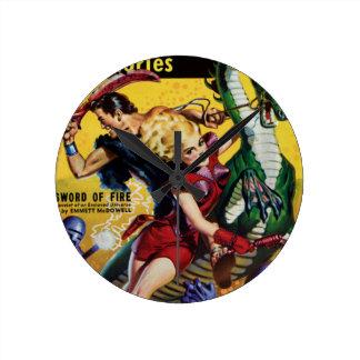 Heroic Blonde Rides a Dinosaur Round Clock
