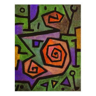 Heroic Roses Abstract by Paul Klee Postcard
