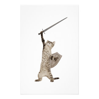 Heroic Warrior Knight Cat Personalized Stationery