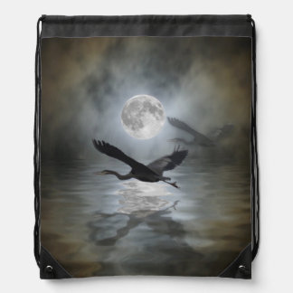 Heron and Full Moon Fantasy Design Drawstring Bag