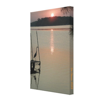 """Heron greets the rising Sun on the Dock 8x11.77"""" Canvas Print"""