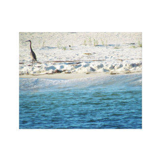 Heron Keeping Watch on the Shore Canvas Print