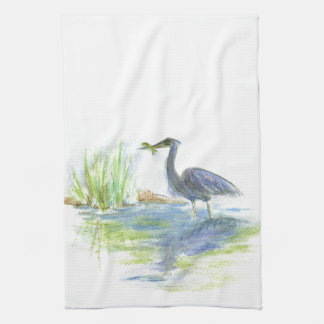 Heron Lunch - watercolor pencil Kitchen Towel