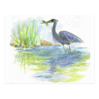 Heron Lunch - watercolor pencil Postcard
