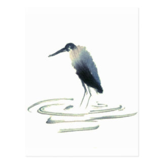 Heron Meditation, Sumi-e Great Blue Heron Postcard