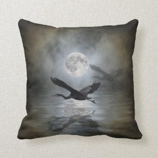 Heron Moon Fantasy Wildlife Animal Heron-lover Cushion