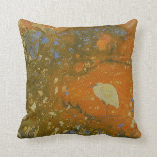 Heron on abstract background, unique, pretty cushion