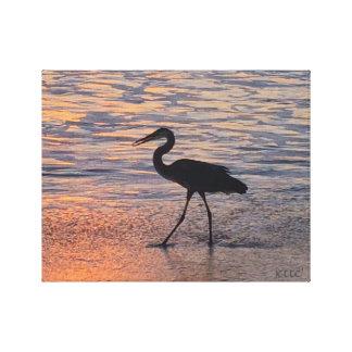Heron on early morning walk canvas print